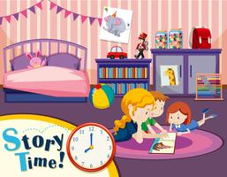 Monther e i bambini nella camera da letto