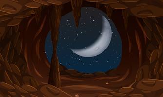 Ingresso della caverna con la luna cresente
