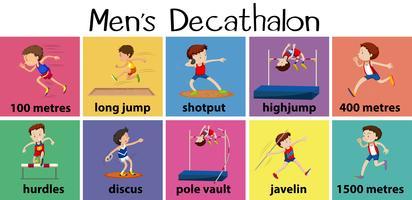 Diversi tipi di decathalon maschile vettore