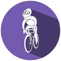 Disegno dell'icona di sport per il ciclismo su etichetta rotonda vettore
