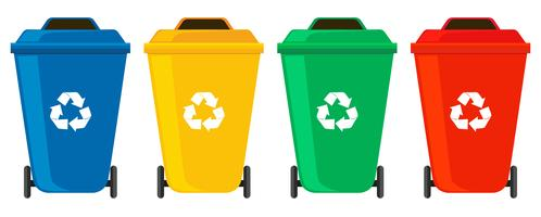 Quattro colori di lattine di spazzatura vettore