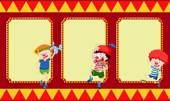 Banner bianco con i bambini del circo vettore