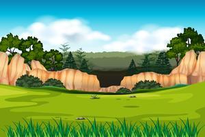 Scena di sfondo verde ambientale vettore