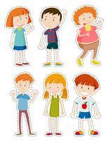 Set di adesivi di bambini felici