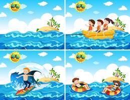 Una serie di attività in spiaggia vettore