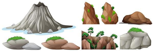 Elementi di natura con rocce e montagne vettore