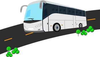 disegno vettoriale di autobus bianco argento
