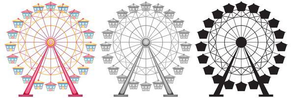 Set di ruota panoramica su backgrond bianco vettore
