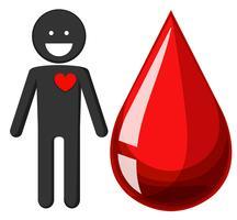 Cuore umano e goccia di sangue vettore