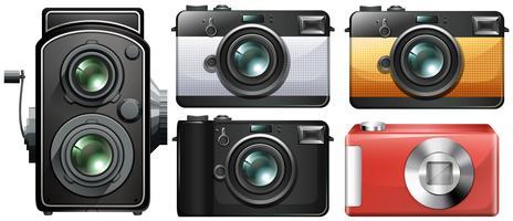 Set di macchine fotografiche d'epoca vettore