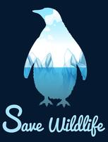 Salvare il tema della fauna selvatica con penquin vettore