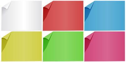 Documenti bianchi in sei colori vettore