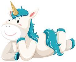 Un personaggio unicorno si sdraiò