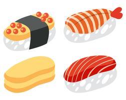 Un insieme di sushi su sfondo bianco
