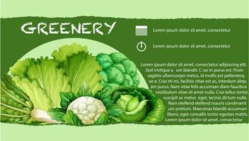 Verdure verdi con testo vettore