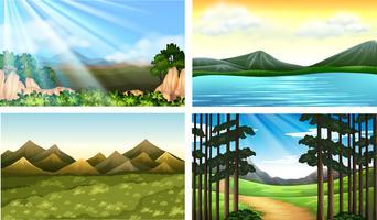 Quattro scene della natura con foresta e lago