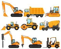 Diversi tipi di camion da costruzione vettore
