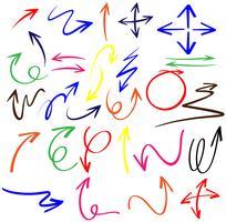 Doodle frecce in diversi colori vettore