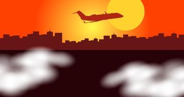 Scena della siluetta con l'aeroplano che sorvola la città vettore