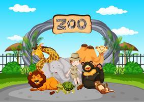 Scena allo zoo con guardiano e animali