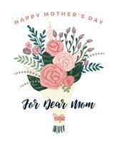 Buona festa della mamma. Modello vettoriale con fiori.