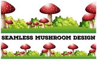 Sfondo senza soluzione di continuità con funghi a terra vettore