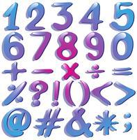 Numeri in tonalità viola vettore