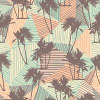 Modello esotico senza cuciture con palme tropicali e sfondo geometrico.