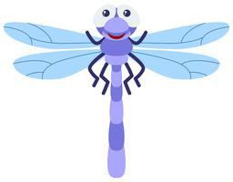 Libellula blu su sfondo bianco vettore