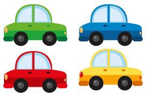 Automobili in quattro colori diversi vettore