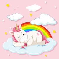 Unicorno che dorme sulla nuvola