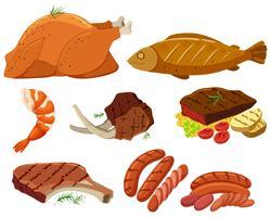Diversi tipi di carne alla griglia vettore