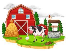 Scena con animali della fattoria in fattoria vettore
