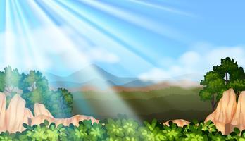 Scena di sfondo con la luce del sole nel cielo