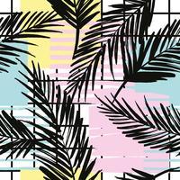Modello esotico senza cuciture alla moda con palme ed elementi geometrici. vettore