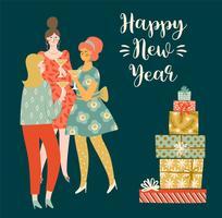 Giovani donne dell'illustrazione del buon anno e di Natale che bevono champagne.