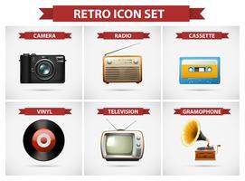 Retro icona set con diversi oggetti vettore