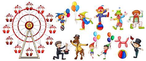 Un set di personaggi da circo vettore