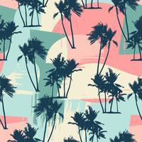 Modello esotico senza cuciture con palme tropicali e sfondo artistico. vettore