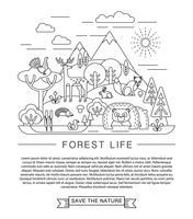 Illustrazione vettoriale della vita della foresta.