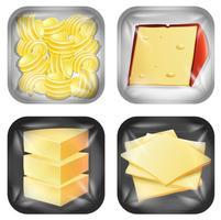 Set di diversi prodotti alimentari confezionati vettore