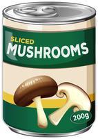 Una lattina di funghi a fette