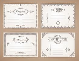 Raccolta di modelli di disegno vettoriale per diploma, certificato, poster e altro uso.