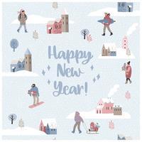Paesaggio senza cuciture di inverno del briciolo dell'illustrazione del buon anno e di Natale.