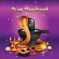 concetto di nag panchami con cobra reale e lingam vettore