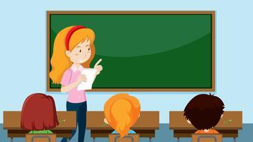 Insegnante che insegna una classe vettore
