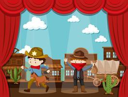 Città del cowboy sul palco con due bambini recitazione vettore