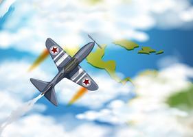 Aeroplano con stelle sulle ali che sorvolano la terra vettore