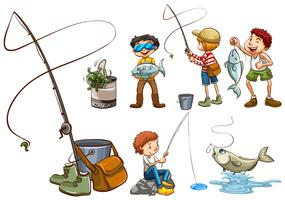 Una serie di persone che pescano vettore