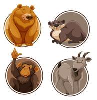 Set di animali selvatici sul modello di adesivo